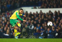 Martin Olsson of Norwich City fires a shot at goal  - Mandatory byline: Matt McNulty/JMP - 07966 386802 - 27/10/2015 - FOOTBALL - Goodison Park - Liverpool, England - Everton v Norwich City - Capital One Cup