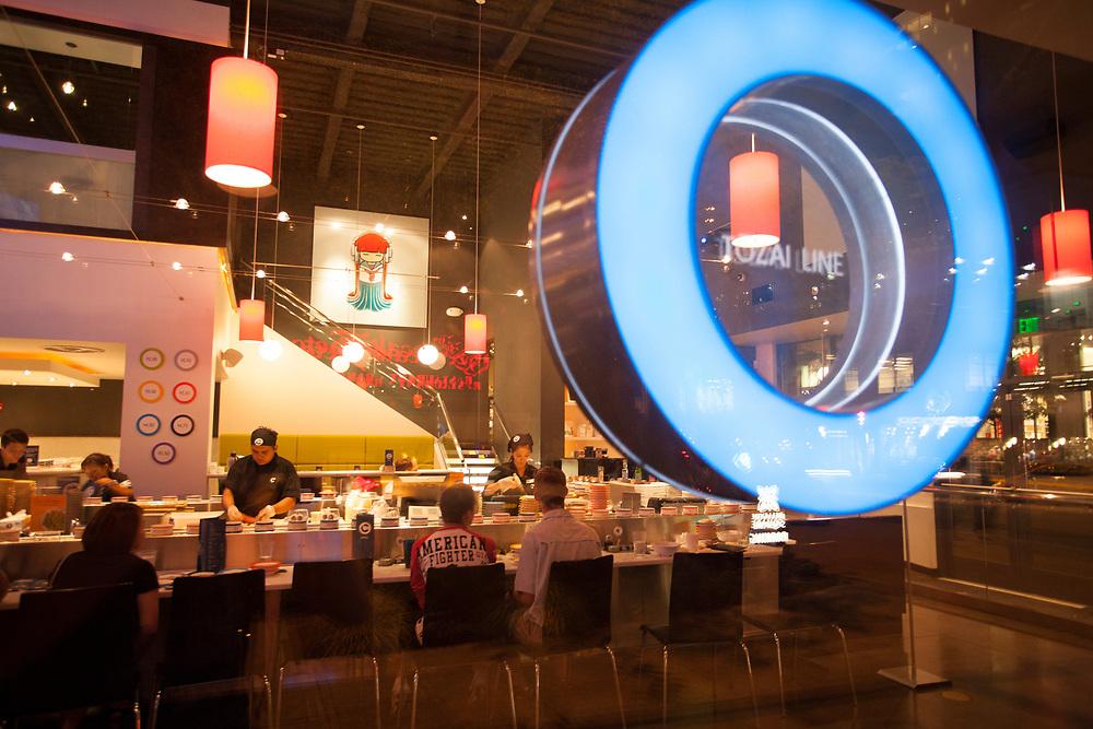 United States, Washington, Bellevue, Blue C Sushi restaurant in Bellevue Square