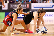 Tactix goal attack Brooke Leaver and Magic goal defense Jenna O'Sullivan in action during the ANZ Premiership netball match - Magic v Tactix played at Claudelands Arena, Hamilton, New Zealand on 30 July 2018.<br /> <br /> Copyright photo: © Bruce Lim / www.photosport.nz