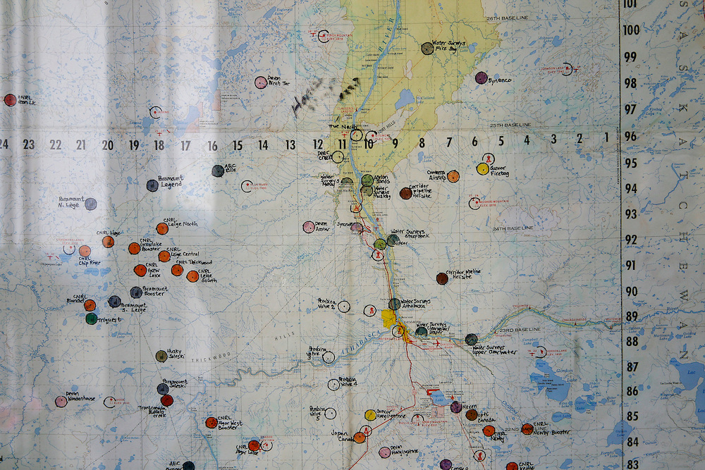 Air navigation map showing implantation of tar sand's industries around Fort Mc Murray in Alberta. 30 June 2008. ©Etienne de Malglaive