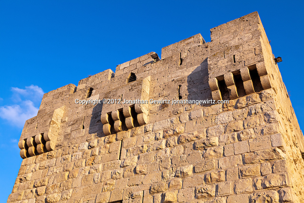 One corner of the Jaffa Gate of the Old City of Jerusalem. WATERMARKS WILL NOT APPEAR ON PRINTS OR LICENSED IMAGES.