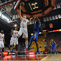 16 February 2013:   Maryland Terrapins center Alex Len (25) in action against Duke Blue Devils forward Amile Jefferson (21) at the Comcast Center in College Park, MD.