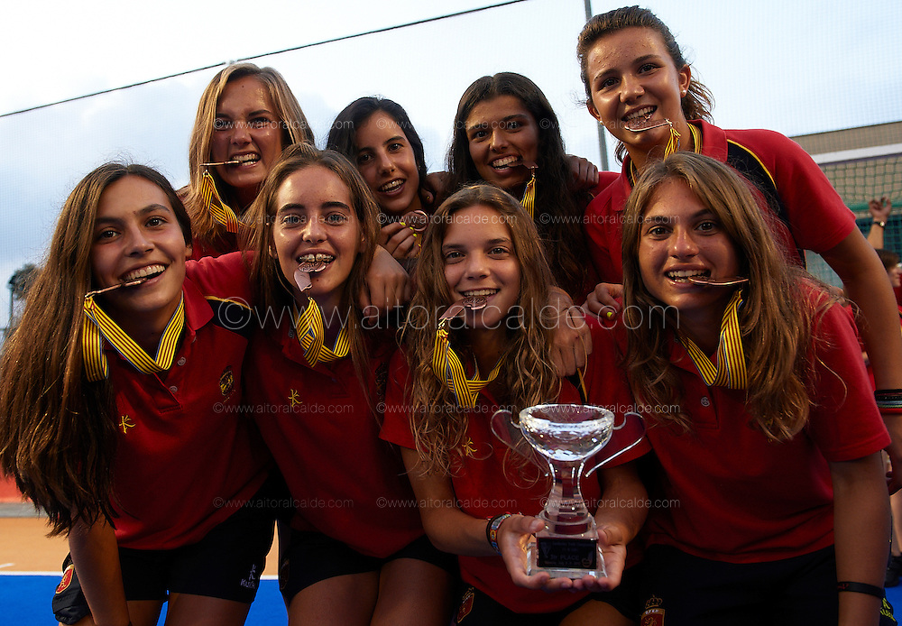 VALENCIA, SPAIN - JULY 6: Eurohockey Youth Championship  under 16 girls Valencia awards ceremony at the verge del carmen de betero on July 6, 2012 in Valencia, Spain. (Photo by Aitor Alcalde)