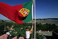 Portuguese flag raising at police school on Taipa island. Macau  ///  lever du drapeau portugais à l'école de police. île de Taipa. Macao /// R211/2    L3166  /  R00211  /  P0006575