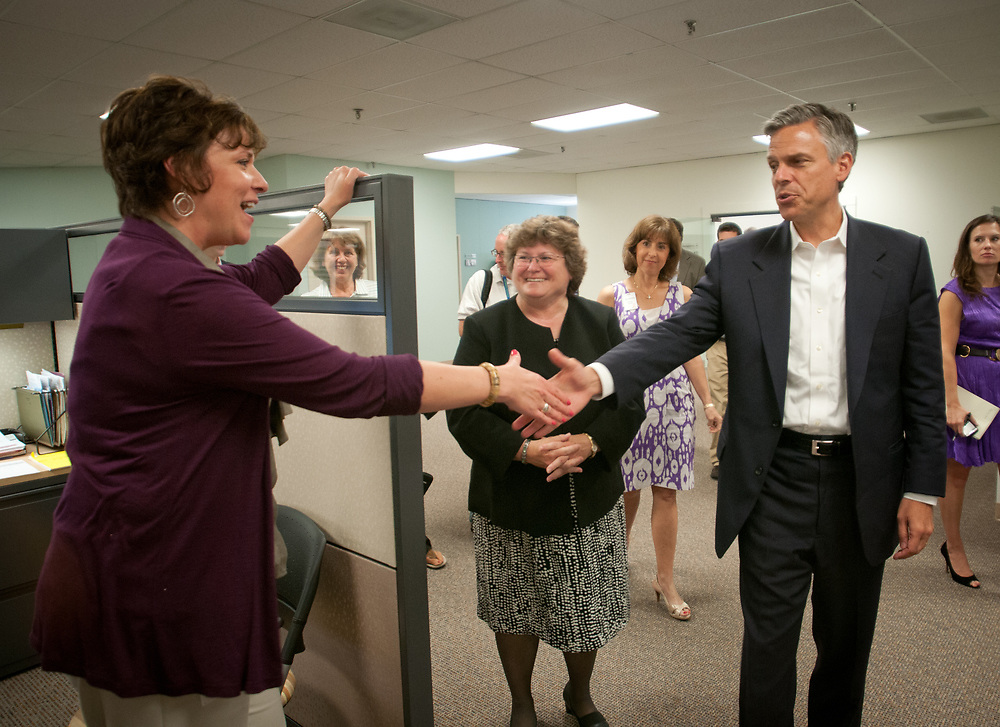 Former Ambassador to China and former Utah Gov. Jon Huntsman greets and talks to employees while touring Cirtronics, an employee owned electronic contract assembly company, Milford, NH. 2nd of August 2011.
