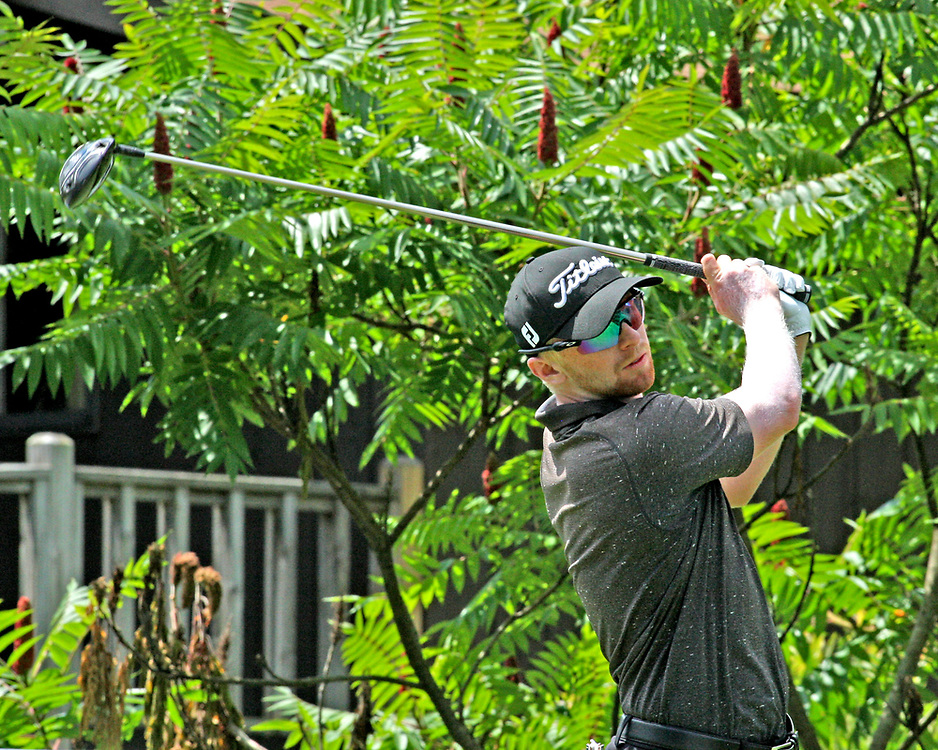 Anders Albertson on the first tee during the LeCom Health Challenge Web.com PGA Tour at Peek n Peak July 8, 2017 photo by Mark L. Anderson