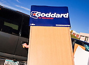 31 OCTOBER 2010 - PHOENIX, AZ:   A Goddard volunteer puts away the podium after a press conference in Phoenix. Goddard, and the other Democrats on the statewide ticket, campaigned in Window Rock and Kingman on Halloween. Goddard ended the day with a press conference in front of the Executive Office Tower at the State Capitol in Phoenix. Goddard lost the election to sitting Governor Jan Brewer, a conservative Republican.     PHOTO BY JACK KURTZ