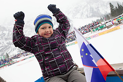 Young fan of Slovenia during the Flying Hill Individual Event at 4th day of FIS Ski Jumping World Cup Finals Planica 2013, on March 24, 2013, in Planica, Slovenia. (Photo by Vid Ponikvar / Sportida.com)