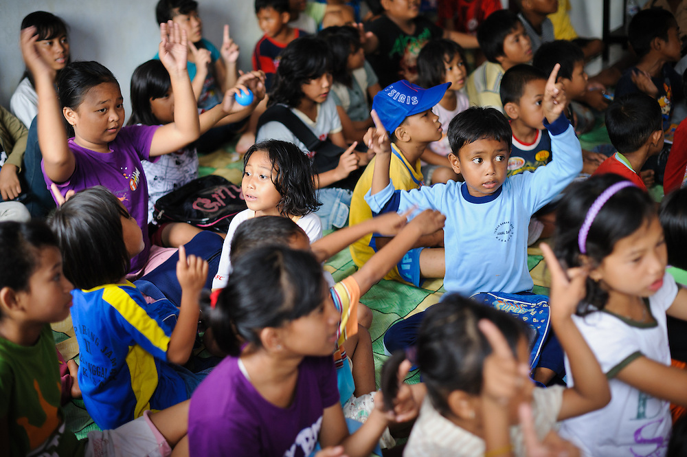 A full classroom at the school supported by the Sacred Childhoods Foundation, Makassar, Sulawesi, Indonesia.