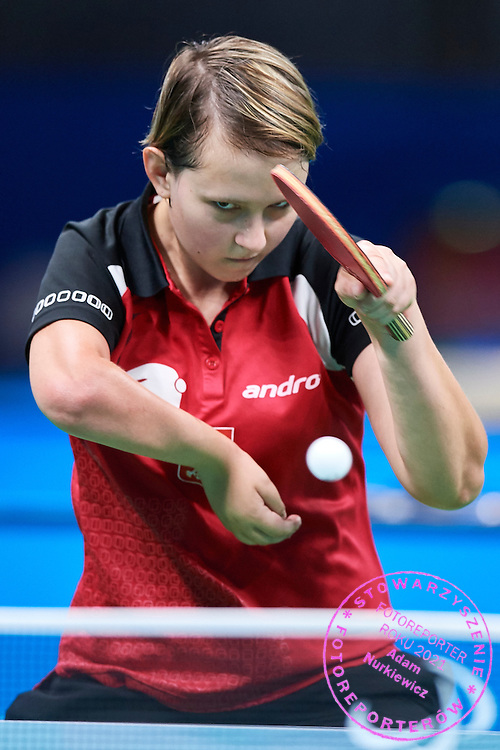 Rio de Janeiro, Brazil - 2016 September 03: Karolina Pek from Poland plays during table tennis training session in Riocentro Pavilion 3 while 2016 Summer Paralympic Games on September 03, 2016 in Rio de Janeiro, Brazil.<br /> Rio 2016 Paralympic Games will be held from September 7 until 18.<br /> <br /> Adam Nurkiewicz declares that he has no rights to the image of people at the photographs of his authorship.<br /> <br /> Picture also available in RAW (NEF) or TIFF format on special request.<br /> <br /> Any editorial, commercial or promotional use requires written permission from the author of image.<br /> <br /> Mandatory credit:<br /> Photo by &copy; Adam Nurkiewicz / Mediasport