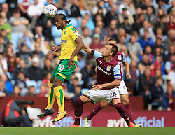 Cameron Jerome of Norwich City wins a header under pressure from John Terry of Aston Villa - Mandatory by-line: Paul Roberts/JMP - 19/08/2017 - FOOTBALL - Villa Park - Birmingham, England - Aston Villa v Norwich City - Sky Bet Championship
