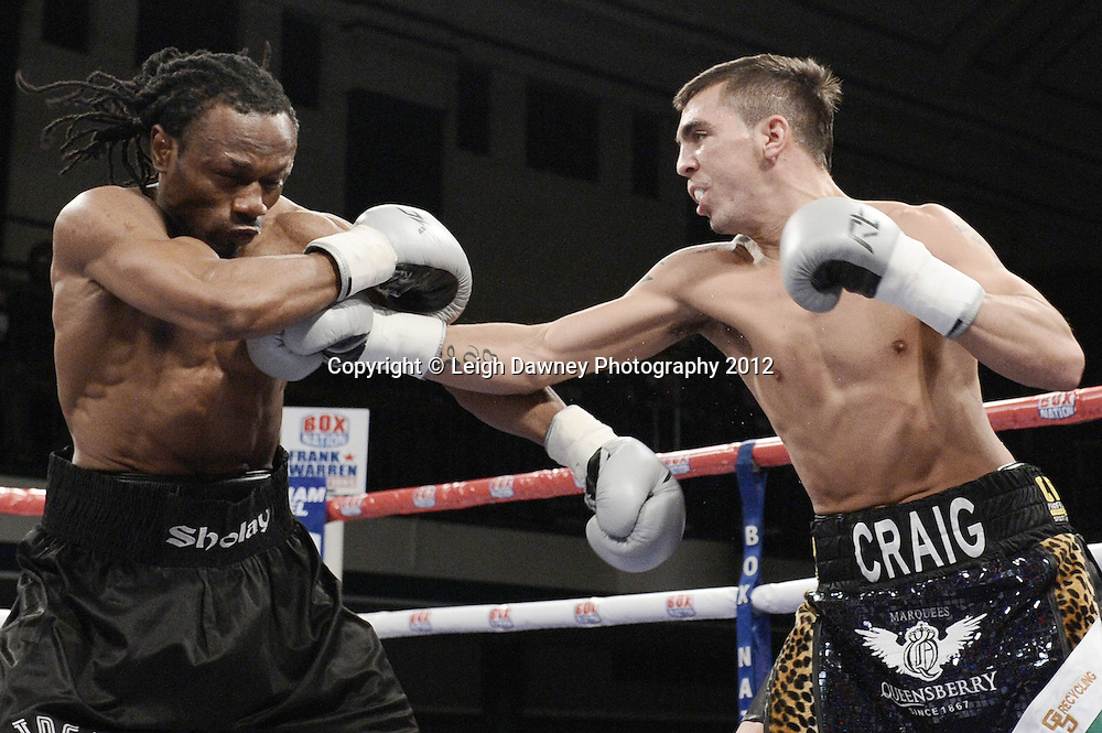 Craig Evans defeats Ideh Ockuko in a 6x3 Super Featherweight contest at York Hall, Bethnal Green, London on the 1st Novemeber 2012. Frank Warren Promotions. © Leigh Dawney Photography 2012.