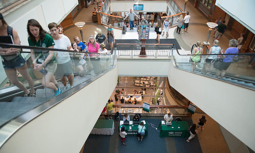 Many Ohio University offices had booths set up so future students and parents could ask questions and get information during Bobcat Student Orientation on June 14, 2016. © Ohio University / Photo by Kaitlin Owens