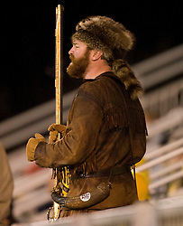 The WVU Mountaineer mascot watches from the stands as the West Virginia Mountaineers defeated the Virginia Cavaliers 1-0 in the second round of the 2007 NCAA Men's Soccer Tournament at Dick Dlesk Stadium in Morgantown, WV on November 28, 2007.