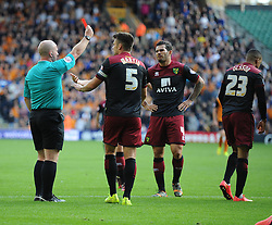 Norwich City's Martin Olsson gets sent off after a second yellow card. - Photo mandatory by-line: Alex James/JMP - Mobile: 07966 386802 10/08/2014 - SPORT - FOOTBALL - Wolverhampton - Molineux Stadium - Wolves v Norwich City - Sky Bet Championship