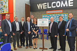 Sean Quinn, Eamon Kenny (Burns Construction), Frank McCarrick Bord of Management, Principal Fergus Seoige, Fr. Patrick Bourke, Deputy Principal Sharon Brady Minister of State for Community and Rural affairs Dept Michael Ring TD, Sefan O Morain  and Dermot McCabe SJK Architects at the official opening of Scoil Phadraig Westport on friday last.<br /> Pic Conor McKeown