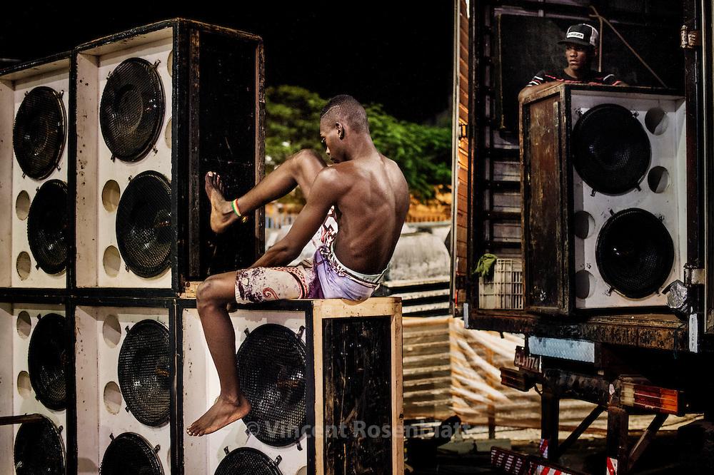 "Roadies assembling a soudsystem for the ""Rio Parada Funk"" (Rio Funk Parade 2014) inside the Sambodromo."