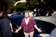 SAN BRUNO, CA - SEPTEMBER 10: Karen Frechette expresses her frustration on not being allowed to see if her house or pets survived an explosion September 10, 2010 in San Bruno, California. A massive explosion rocked a neighborhood near San Francisco International Airport, destroying 37 homes, killing at least 4 people, and injuring at least 50.