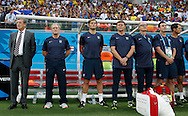 The England bench prior to during the 2014 FIFA World Cup match at Arena da Amazonia, Manaus<br /> Picture by Andrew Tobin/Focus Images Ltd +44 7710 761829<br /> 14/06/2014