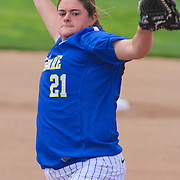 Delaware Pitcher Kelly Lupton (21) pitching in the first inning of a NCAA Non Conference Regular season game between The University Of Delaware and The Peacocks of Saint Peter's Wednesday, April 23, 2014, at UD Softball Stadium in Newark Delaware.