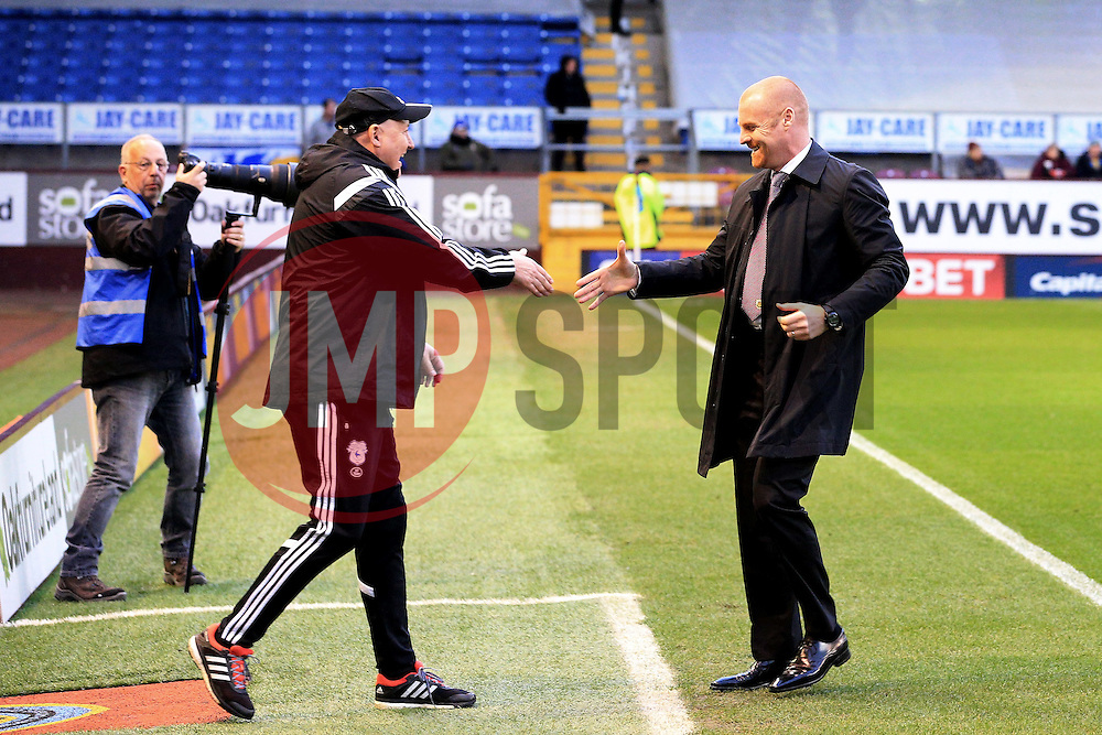 Cardiff City Manager Russell Slade and Burnley Manager Sean Dyche  - Mandatory by-line: Matt McNulty/JMP - 05/04/2016 - FOOTBALL - Turf Moor - Burnley, England - Burnley v Cardiff City - SkyBet Championship