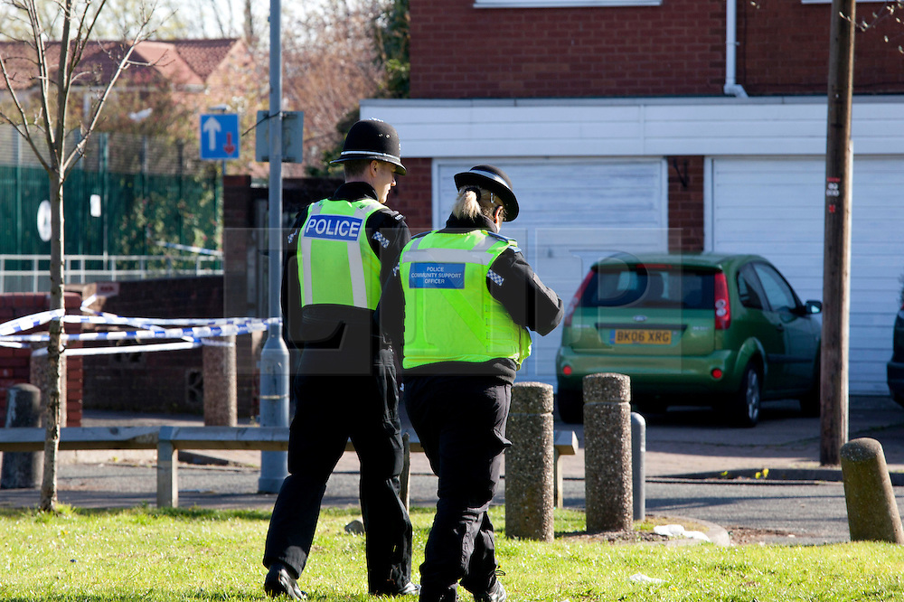 © Licensed to London News Pictures. 30/04/2013. Birmingham, UK. The scene in Little Green lane with the junction of Arsenal Street, Small Heath, Birmingham, where a seventy five year old man was stabbed to death. Photo credit : Dave Warren/LNP
