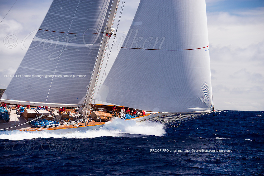 Adela sailing in the Antigua Superyacht Challenge, day one.