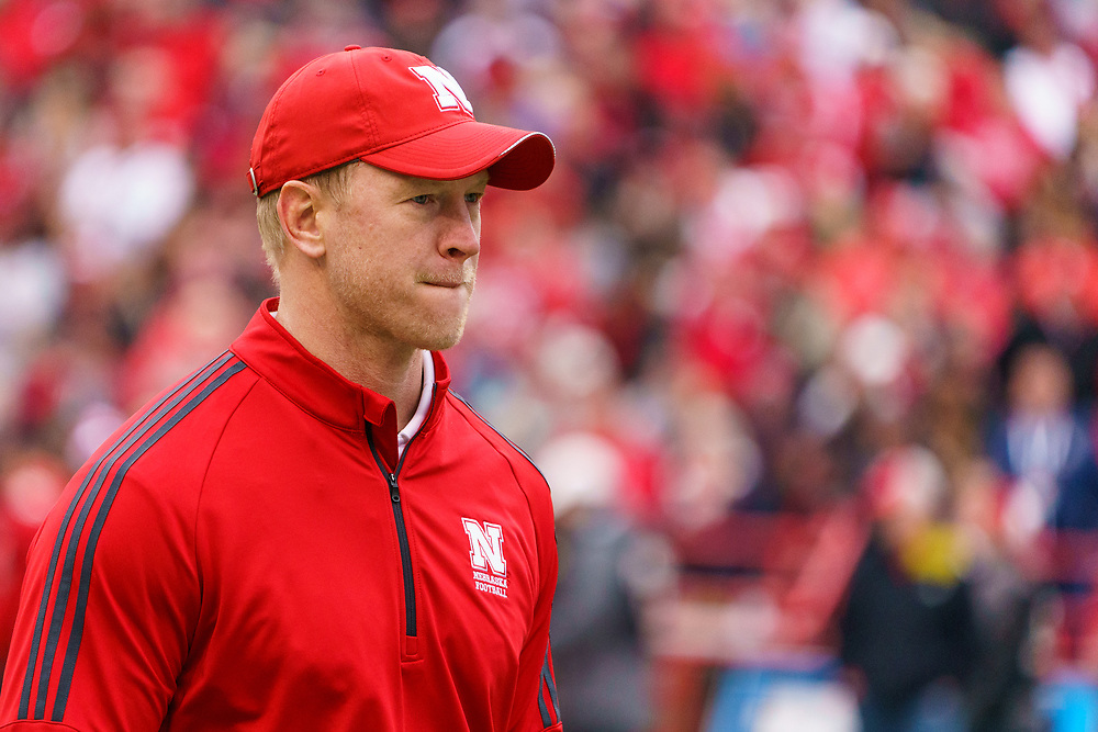 Scott Frost stands on the field during Nebraska's annual Spring Game at Memorial Stadium in Lincoln, Neb., on April 21, 2018. © Aaron Babcock