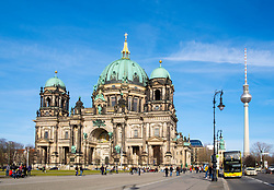 View of Berlin Cathedral , Berliner Dom, in Lustgarten Park on Museumsinsel in Mitte Berlin, Germany