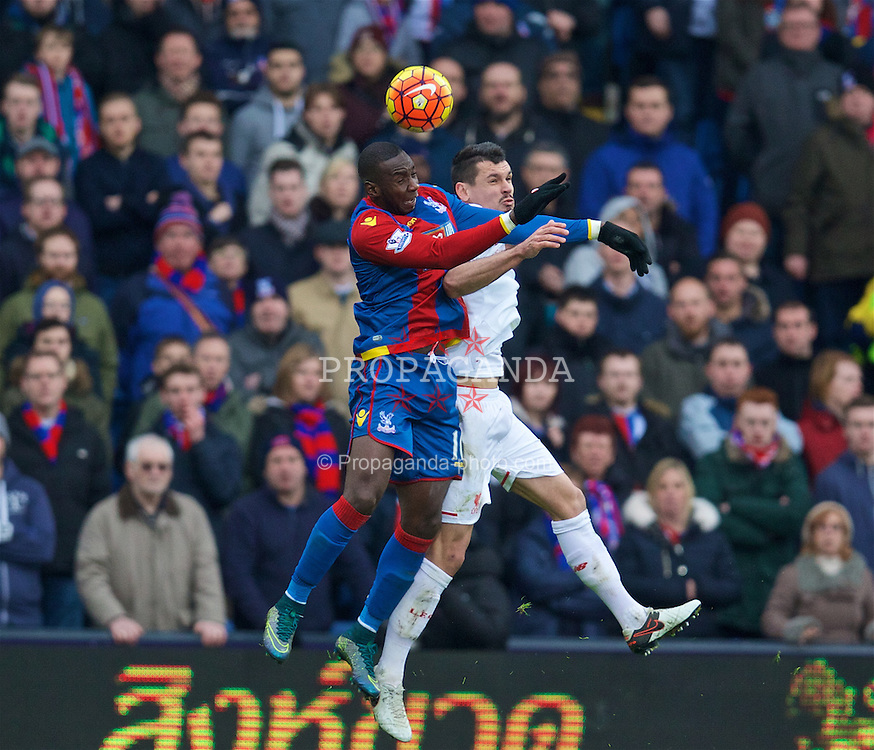 LONDON, ENGLAND - Sunday, March 6, 2016: Liverpool's Dejan Lovren in action against Crystal Palace's Yannick Bolasie during the Premier League match at Selhurst Park. (Pic by David Rawcliffe/Propaganda)