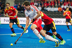 England's Alastair Brogdon. England v Spain - Unibet EuroHockey Championships, Lee Valley Hockey & Tennis Centre, London, UK on 25 August 2015. Photo: Simon Parker
