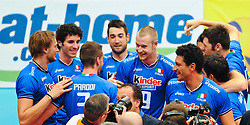 17.09.2011, Stadthalle, Wien, AUT, CEV, Europaeische Volleyball Meisterschaft 2011, Halbfinale, Italien vs Polen, im Bild Jubel Italien, vl. Michal Lasko, (ITA, #7, Opposite), Gabriele Maruotti, (ITA, #8, Wing-Spiker), Simone Parodi, (ITA, #3, Wing-Spiker), Cristian Savani, (ITA, #11, Wing-Spiker), Ivan Zaytsev, (ITA, #9, Wing-Spiker), Luigi Mastrangelo, (ITA, #1, Middle-Blocker) // during the european Volleyball Championship Semi Final Italy vs Poland, at Stadthalle, Vienna, 2011-09-17, EXPA Pictures © 2011, PhotoCredit: EXPA/ M. Gruber