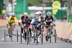 CROTEAU Marie-Eve, T2, CAN, Cycling, Road Race, MAJUNKE Jana, GER, WALSH Jill, USA, COOKE Carol, AUS, DINES Hannah, GBR à Rio 2016 Paralympic Games, Brazil
