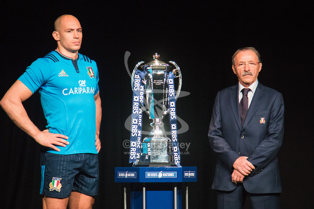 Hurlingham Club, London, January 27th 2016. Italy Captain Sergio Parisse and Head Coach Jacques Brunel  at the launch of the RBS Six Nations Rugby Tornament. ///FOR LICENCING CONTACT: paul@pauldaveycreative.co.uk TEL:+44 (0) 7966 016 296 or +44 (0) 20 8969 6875. ©2015 Paul R Davey. All rights reserved.