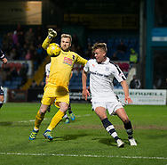 Dundee&rsquo;s Mark O&rsquo;Hara and Ross County's Scott Fox - Ross County v Dundee in the Ladbrokes Scottish Premiership at The Global Energy Stadium, Dingwall, Photo: David Young<br /> <br />  - &copy; David Young - www.davidyoungphoto.co.uk - email: davidyoungphoto@gmail.com