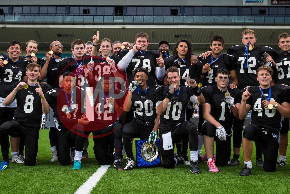 Kent Exiles U19 Britbowl Champions - Mandatory by-line: Jason Brown/JMP - 27/08/2016 - AMERICAN FOOTBALL - Sixways Stadium - Worcester, England - Kent Exiles v East Kilbride Pirates - BAFA Britbowl Finals Day