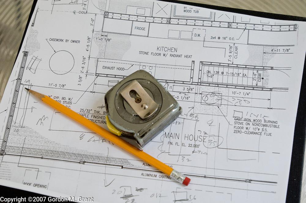 East Hampton, NY - 9/30/07 - The home of Brian Gayman and Bonnie Rychlak in East Hampton, NY September 30, 2007. Plans detail.     (Photo by Gordon M. Grant)