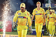 MS Dhoni leading his team onto the field during the first semi-final match of the Karbonn Smart Champions League T20 (CLT20) 2013  between the Rajasthan Royals and the Chennai Super Kings held at the Sawai Mansingh Stadium in Jaipur on the 4th October 2013. Photo by Jacques Rossouw-CLT20-SPORTZPICS<br /> <br /> Use of this image is subject to the terms and conditions as outlined by the CLT20. These terms can be found by following this link:<br /> <br /> http://sportzpics.photoshelter.com/image/I0000NmDchxxGVv4