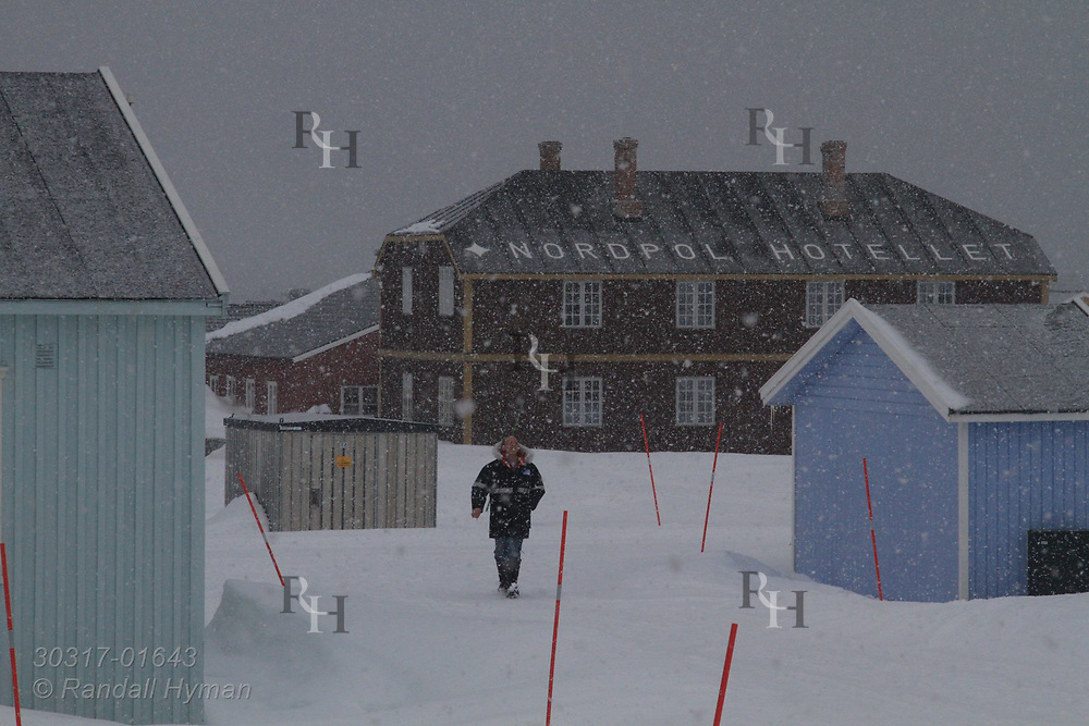 Man walks in snowstorm on an April evening at the international science village of Ny-Alesund on Spitsbergen island in Kongsfjorden; Svalbard, Norway.