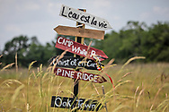 Sign at the  L'eau est la vie camp in Rayne Louisiana set up during the fight against the Bayou Bridge Pipeline.