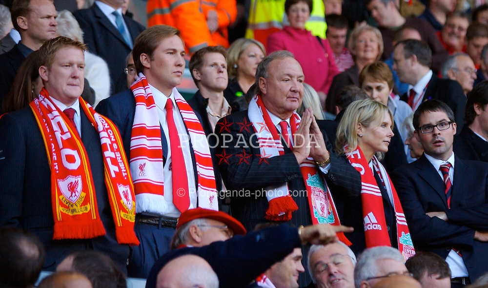 LIVERPOOL, ENGLAND - Sunday, October 28, 2007: Liverpool's co-owner Tom Hicks with his two sons Tom Hicks Junior and Alex during the Premiership match against Arsenal at Anfield. (Photo by David Rawcliffe/Propaganda)