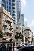 New and old in Allenby Street, Tel Aviv, Israel