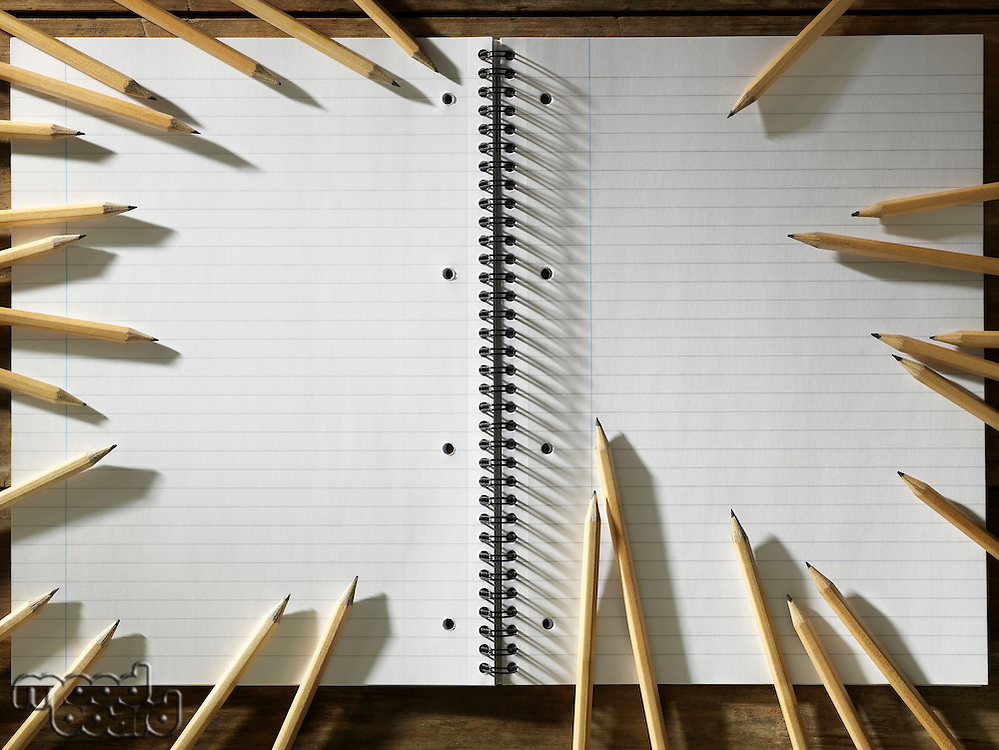 Blank Pad of Paper and Ring of Sharpen Pencils