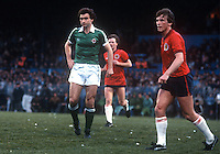 Martin O'Neill, footballer, Norwich City, appearing for N Ireland against Scotland at Windsor Park, Belfast. 19810063MON2..Copyright Image from Victor Patterson, 54 Dorchester Park, Belfast, United Kingdom, UK...For my Terms and Conditions of Use go to http://www.victorpatterson.com/Victor_Patterson/Terms_%26_Conditions.html