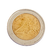 2 Euro coin on white background