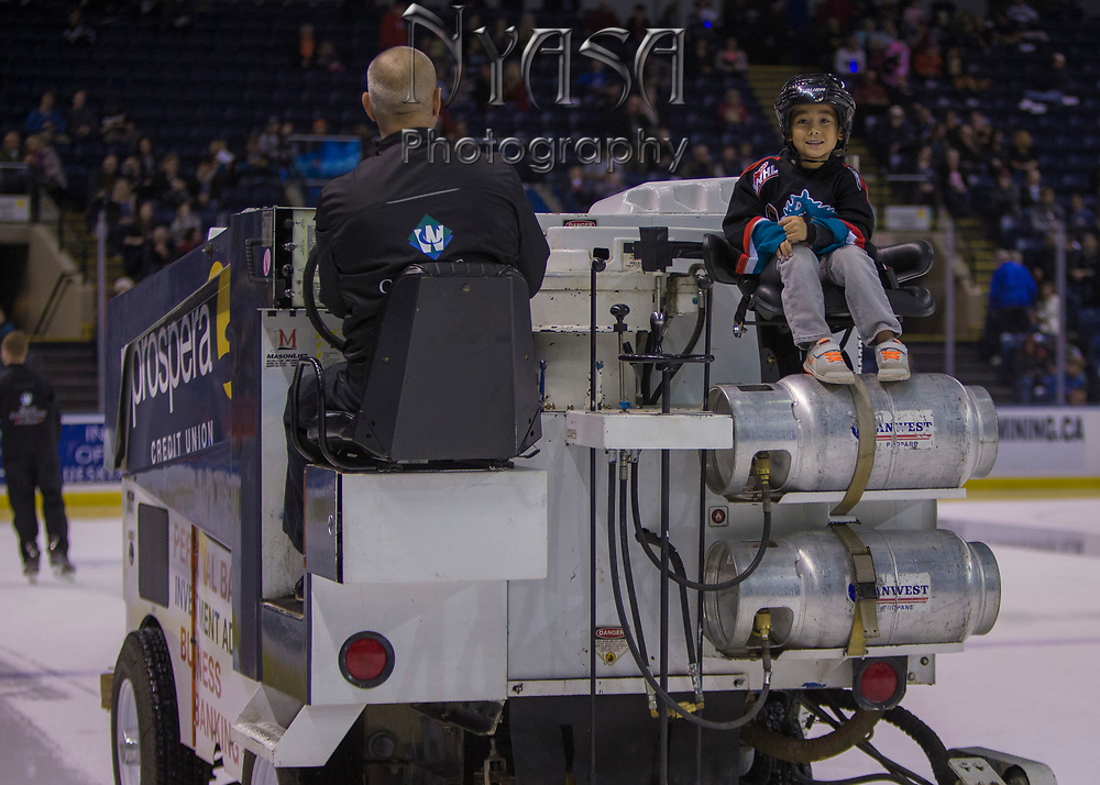 KELOWNA, CANADA - OCTOBER 27:  Orchard Park Zamboni Rider at the Kelowna Rockets game on October 27, 2017 at Prospera Place in Kelowna, British Columbia, Canada.  (Photo By Cindy Rogers/Nyasa Photography,  *** Local Caption ***