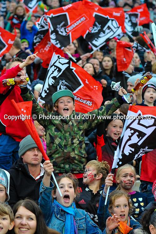 Fans during the Super Rugby match, Crusaders V Highlanders, AMI Stadium, Christchurch, New Zealand, 3rd June 2017.Copyright photo: John Davidson / www.photosport.nz