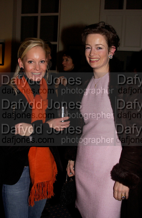 Mrs. Brent Hoberman and Clare de Vries, Status Anxiety by  Alain de Botton,  book launch. Foreign Press Association, Carlton House Terrace. 2 March 2004. ONE TIME USE ONLY - DO NOT ARCHIVE  © Copyright Photograph by Dafydd Jones 66 Stockwell Park Rd. London SW9 0DA Tel 020 7733 0108 www.dafjones.com