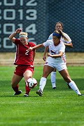 NORMAL, IL - August 10:  Andrea Ferker & Abby Basler during a nonconference exhibition women's soccer match between the Southern Illinois Edwardsville Cougars and the Illinois State Redbirds August 10 2019 on Adelaide Street Field in Normal IL (Photo by Alan Look)