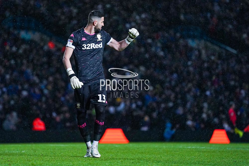 Leeds United goalkeeper Kiko Casilla (13) celebrates Leeds United forward Patrick Bamford (9) scoring a goal to make the score 2-0 during the EFL Sky Bet Championship match between Leeds United and Cardiff City at Elland Road, Leeds, England on 14 December 2019.